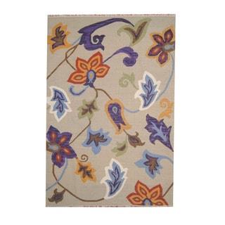 Herat Oriental Indo Hand-woven Vegetable Dye Tribal Kilim Beige/ Orange Wool Rug (5'1 x 7'6)