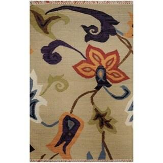 Handmade Herat Oriental Indo Vegetable Dye Tribal Wool Kilim (India) - 4'7 x 6'5