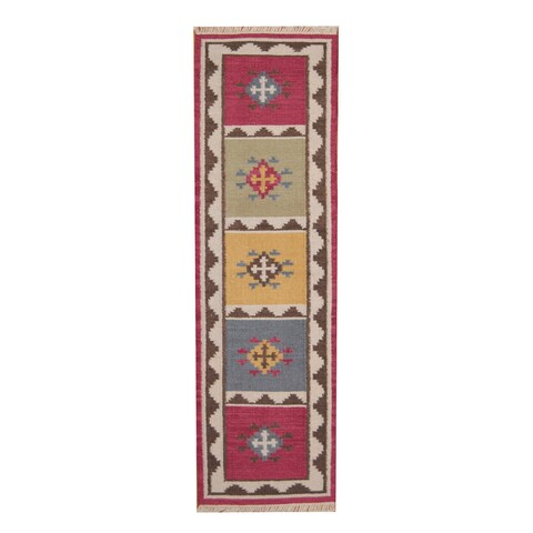 Handmade Herat Oriental Indo Vegetable Dye Tribal Kilim Wool Runner - 2'4 x 8'2 (India)