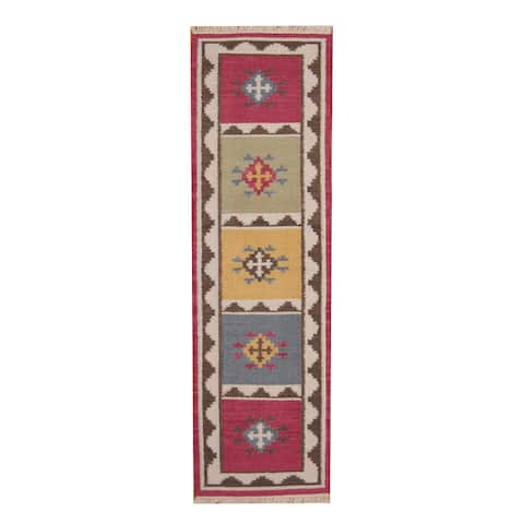 Handmade Vegetable Dye Kilim Wool Runner (India) - 2'4 x 8'2