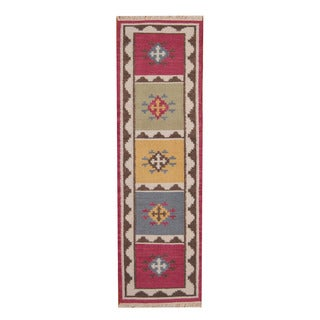 Herat Oriental Indo Hand-woven Vegetable Dye Tribal Kilim Wool Runner - 2'4 x 8'2