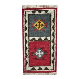 "Handmade Vegetable Dye Wool Kilim (India) - 1'8"" x 3'3"""