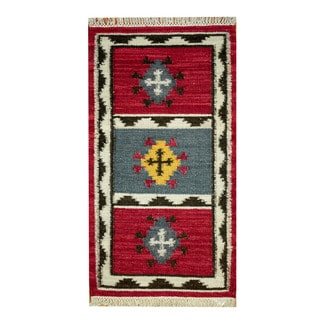 Herat Oriental Indo Hand-woven Vegetable Dye Tribal Wool Kilim (2'3 x 4'6)