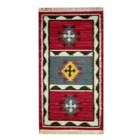 Herat Oriental Indo Hand-woven Vegetable Dye Tribal Wool Kilim - 2'3 x 4'6