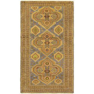 Ecarpetgallery Khandahar Finest Navy Wool Open Field Rectangular Rug (3'8 x 6'5)