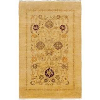 Ecarpetgallery Pako Persian 18/20 Light Yellow Wool Open Field Rectangular Rug (6' x 9'3)