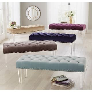 bench for living room. Simple Living Leona Velvet Button Tufted Bench with Acrylic Legs Benches  Settees For Less Overstock com
