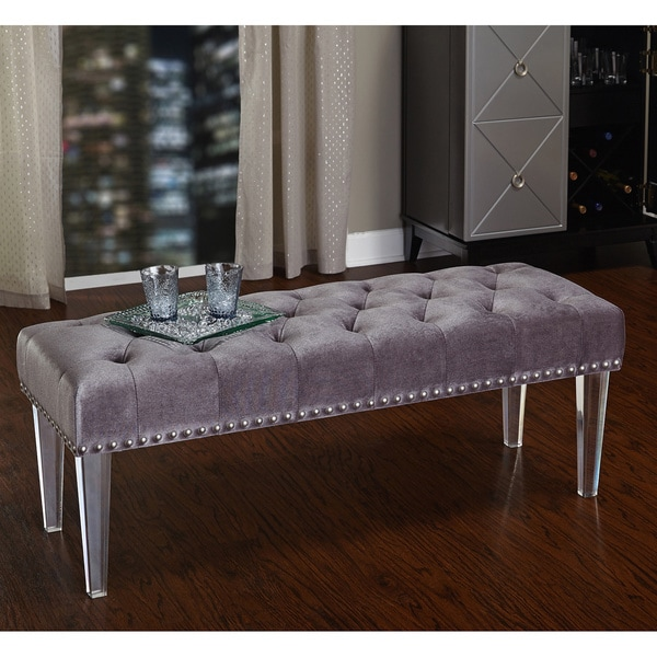 simple living leona bench with acrylic legs free shipping today 17302937. Black Bedroom Furniture Sets. Home Design Ideas
