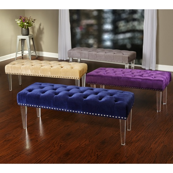 simple living leona velvet button tufted bench with acrylic legs free shipping today - Acrylic Bench