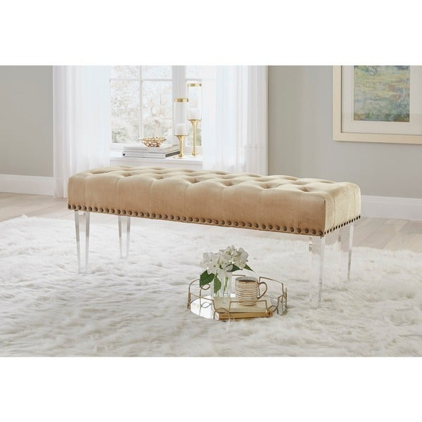 Simple Living Leona Velvet Tufted Bench With Acrylic Legs   Gold by Simple Living