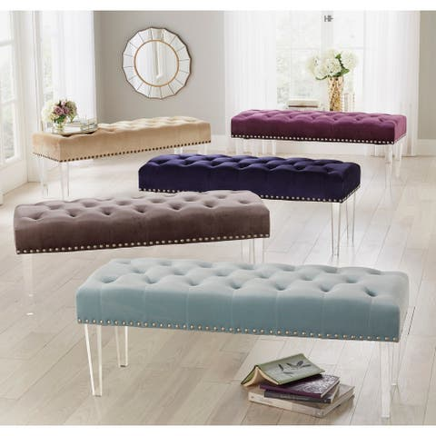 Simple Living Leona Velvet Tufted Bench with Acrylic Legs
