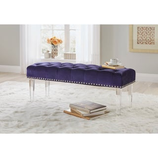 Simple Living Leona Velvet Button Tufted Bench with Acrylic Legs - N/A (2 options available)