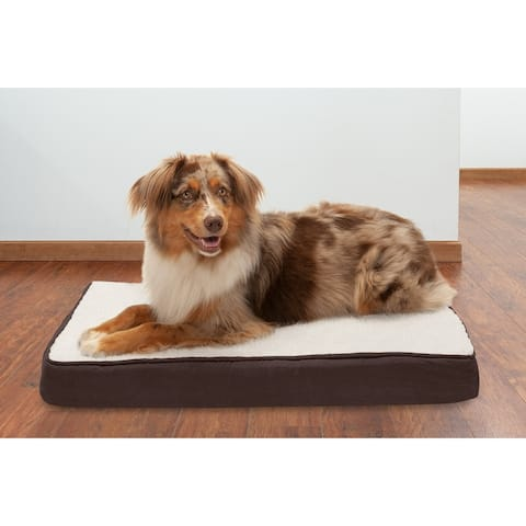 FurHaven Pet Bed Faux Sheepskin & Suede Deluxe Memory Top Dog Bed
