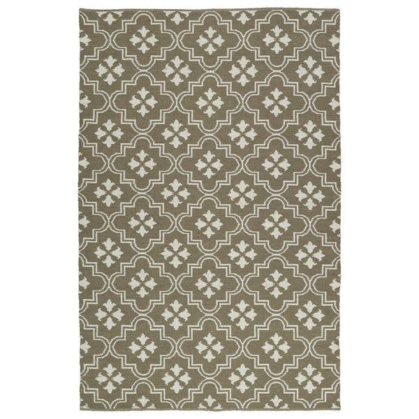 Indoor/Outdoor Laguna Dark Taupe and Ivory Tiles Flat-Weave Rug - 9' x 12'