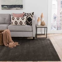 Phase Handmade Solid Black Area Rug (5' X 8') - 5' x 8'