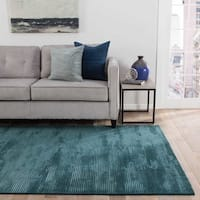 Phase Handmade Solid Blue Area Rug (5' X 8') - 5' x 8'