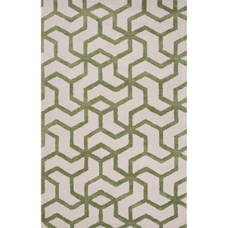 Novelty Geometric Pattern Birch/Green eyes Wool 9' x 12' Area Rug