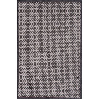 Novelty Geometric Pattern Light grey/Plum kitten Chenille 9' x 12' Area Rug