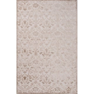 "Transitional Floral Pattern Light grey/Sand shell Chenille 7'6"" x 9'6"" Area Rug"