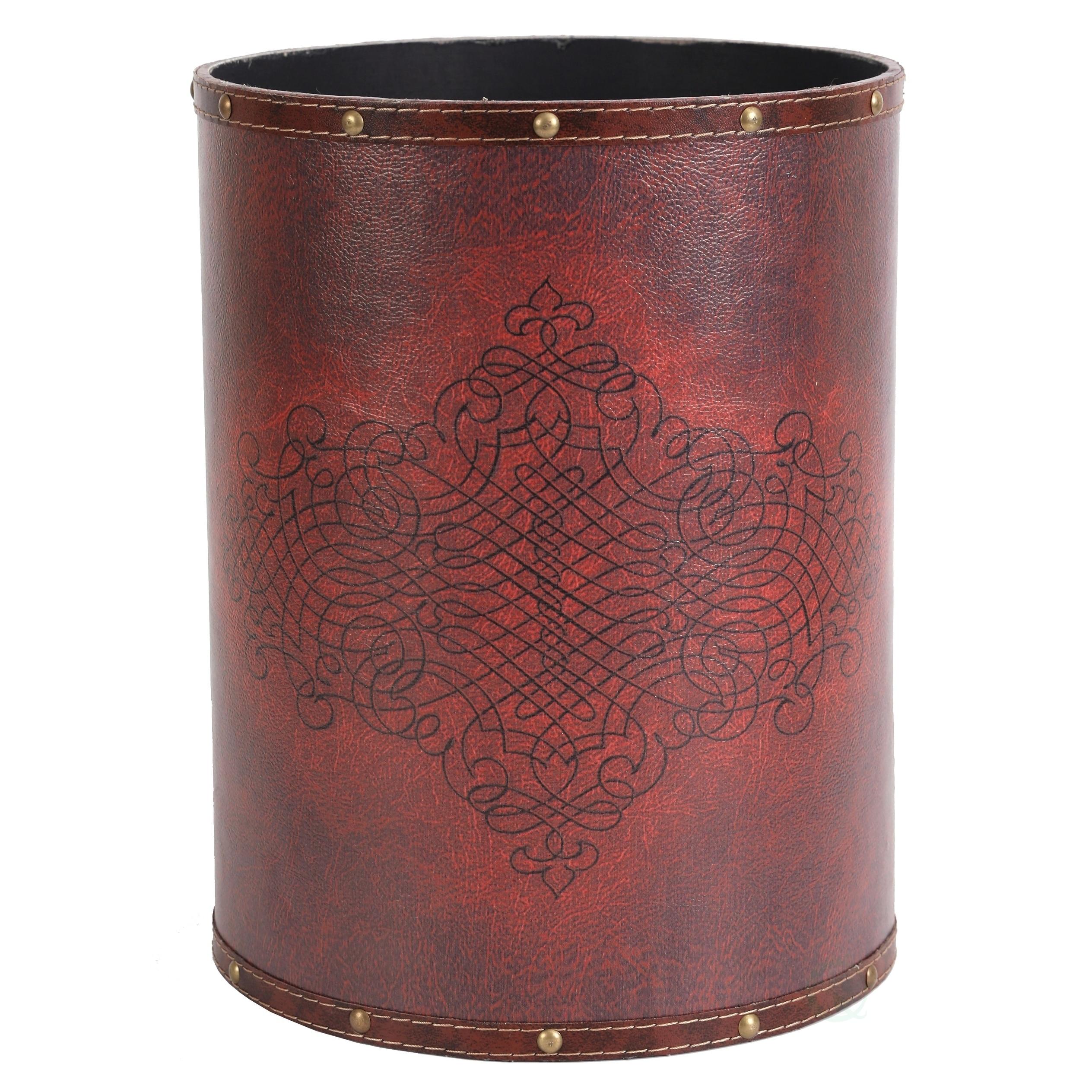 Vintiquewise Faux Leather Antique Design Waste Bin (Waste...
