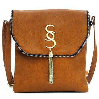Dasein Gold-Tone Tassel Messenger Bag (Option: Pink)