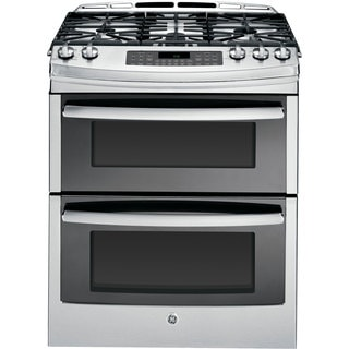 GE 30-inch Slide-in Double Oven and Stainless Steel Gas Range
