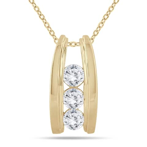 Marquee Jewels 14k Yellow Gold 1ct TDW Diamond Ladder 3-stone Necklace