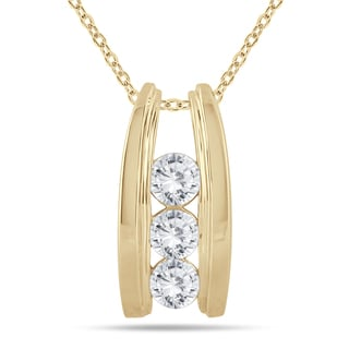 Marquee Jewels 14k Yellow Gold 1ct TDW Diamond Ladder 3-stone Necklace (I-J, I2-I3)