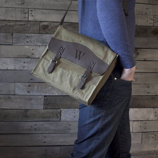 Personalized Canvas and Leather Messenger Bag