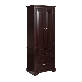 Gevenieve 2-Door, 2-Drawer Espresso-Finished Linen Tower w/ Satin Nickel Knobs