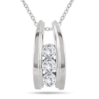 Marquee Jewels 10k White Gold 1/2ct TDW Diamond Ladder 3-stone Necklace