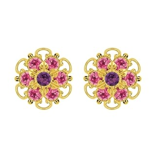 Lucia Costin Gold Over Sterling Silver Violet/ Pink Crystal Earrings