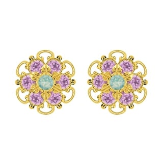 Lucia Costin Gold Over Sterling Silver Mint Blue/ Lilac Crystal Earrings