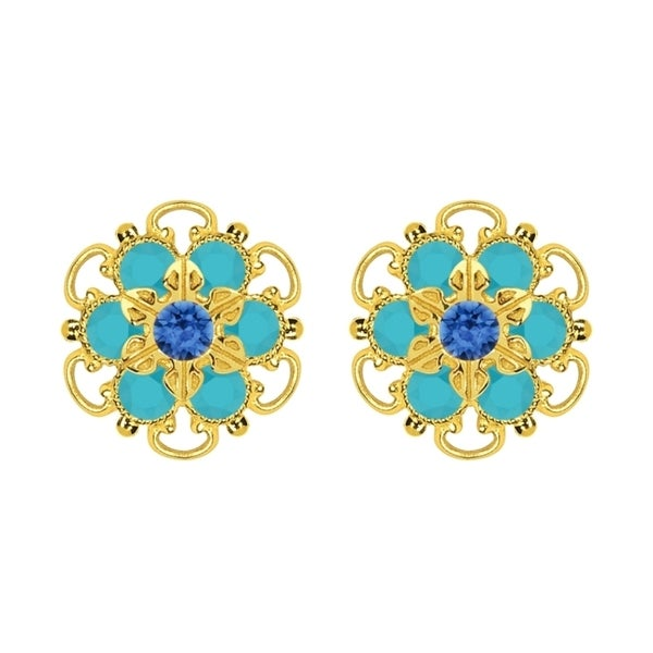 Lucia Costin Gold Over Sterling Silver Blue Turquoise Crystal Earrings