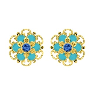 Lucia Costin Gold Over Sterling Silver Blue/ Turquoise Crystal Earrings