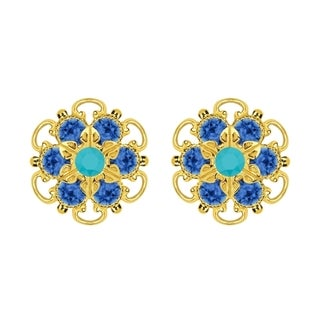 Lucia Costin Gold Over Sterling Silver Turquoise/ Blue Crystal Earrings