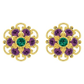 Lucia Costin Gold Over Sterling Silver Green/ Violet Crystal Earrings