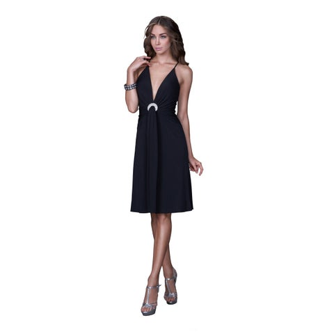 Women's Deep V-neck Jersey Cocktail Dress