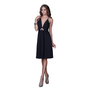 Women's Deep V-neck Jersey Cocktail Dress