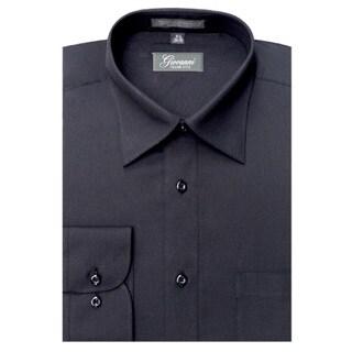 Giovanni Men's Black Convertible Cuff Dress Shirt
