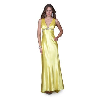 Women's V-neck Satin Criss-cross Back Evening Gown
