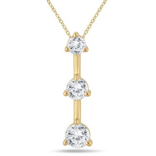 Marquee Jewels 10k Yellow Gold 1/2ct TDW Diamond 3-stone Drop Pendant