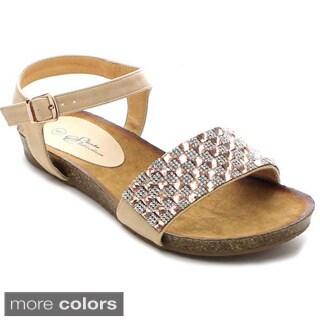 Shake Franny Women's Rhinestone Ankle Strap Flat Sandals