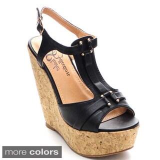 Shake Bella Women's Ankle Strap T-strap Platform Wedges