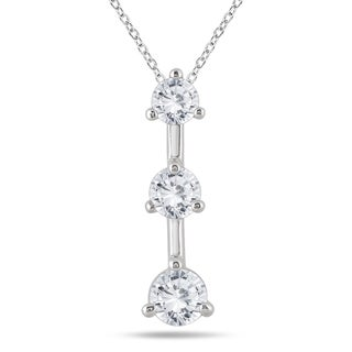 Marquee Jewels 14k White Gold 1ct TDW Diamond 3-stone Drop Pendant