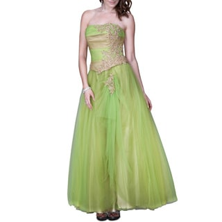 Women's Gold/ Green Lace Embellished Tulle Ballgown