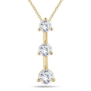 Marquee Jewels 14k Yellow Gold 1ct TDW Diamond 3-stone Drop Pendant (I-J, I2-I3)