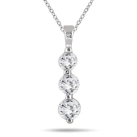 Marquee Jewels 14k White Gold 1ct TDW Diamond Graduated 3-stone Pendant