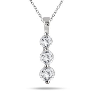 Marquee Jewels 14k White Gold 1ct TDW Diamond Graduated 3-stone Pendant