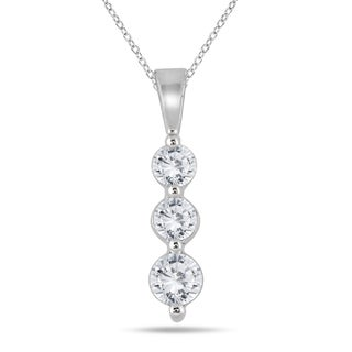 Marquee Jewels 10k White Gold 1/2ct TDW Diamond Graduated 3-stone Pendant (I-J, I2-I3)